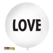 Palloncino Gigante LOVE da 1 Metro Bianco con Stampa Argento - Kadosa