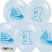 Palloncini 1 Anno Azzurri con stampa di una Scarpetta - Kadosa