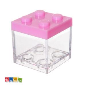 Scatola Porta Confetti Mattoncino Lego Rosa - Kadosa