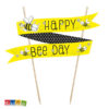Cake Topper Ape Giallo e Nero con Scritta Happy Bee Day - Kadosa