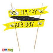 Cake Topper Ape Giallo e Nero con Scritta Happy Bee Day - Kadosa
