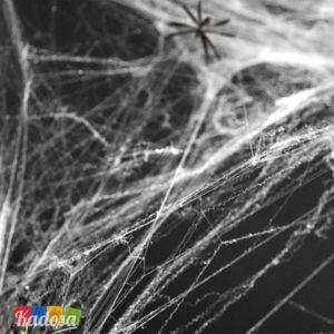 Ragnatela Sintetica Halloween Bianca con 2 Ragni Neri Inclusi - Kadosa