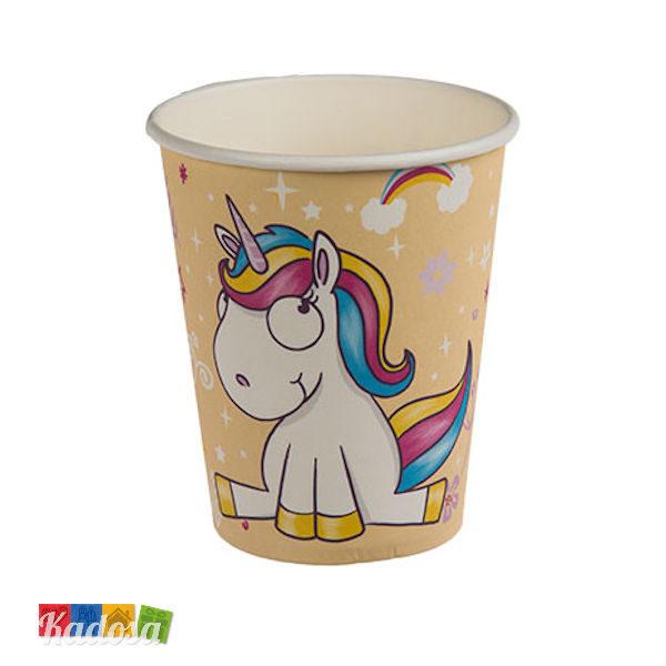 Bicchieri Unicorno Gialli in Carta Set da 6 pz - Kadosa