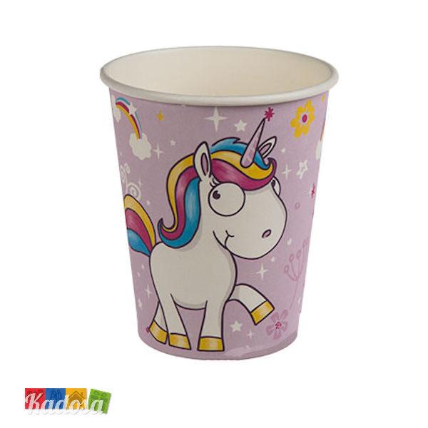 Bicchieri Unicorno Lilla in Carta Set da 6 pz - Kadosa