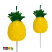 Candeline Ananas per Feste Originali ed Alla Moda in Stile Hawaii Set 5 pz - Kadosa