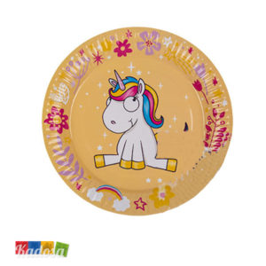 Piatti di Carta Unicorno Gialli Super Trendy ed alla Moda Set 8 pz - Kadosa