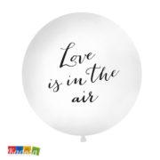 Palloncino Gigante LOVE IS IN THE AIR da 1 Metro Bianco con Stampa Argento - Kadosa