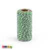 Rotolo Cordino Cotone Bianco Spirale Verde 50 Mt - Kadosa