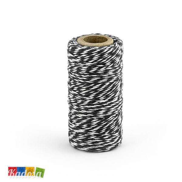 Rotolo Cordino Cotone Bianco Spirale Nera 50 Mt - Kadosa