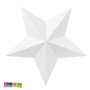 Ghirlanda Stelle 3D Bianche con Cordino Argento Incluso Set 6 pz Kadosa