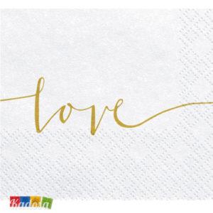 Tovaglioli di Carta LOVE Oro Confezione da 20 pz - Kadosa