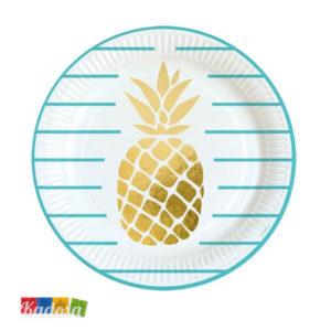 Piatti di Carta ANANAS Party Colore Tiffany Oro Set 8 pz - Kadosa
