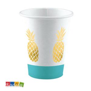 Bicchieri di Carta ANANAS Party Colore Tiffany Oro Set 8 pz - Kadosa