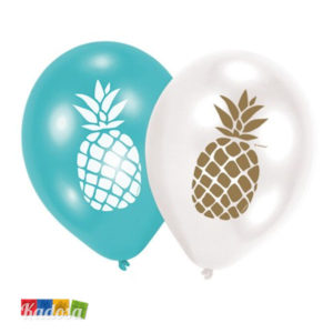 Palloncini ANANAS Party Bianchi e Tiffany Set 6 pz - Kadosa