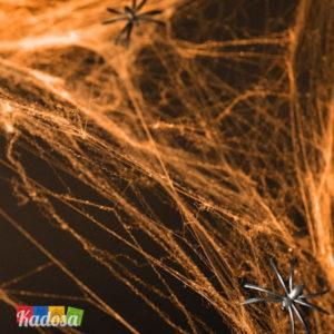 Ragnatela Sintetica Arancione Halloween Bianca con 2 Ragni Inclusi - Kadosa