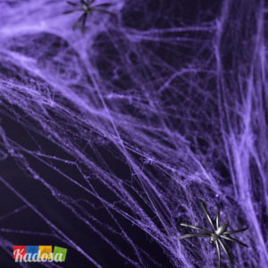 Ragnatela Sintetica Viola Halloween Bianca con 2 Ragni Inclusi - Kadosa