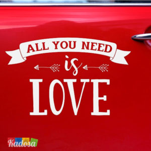 Adesivo Auto Sposi ALL YOU NEED IS LOVE Bianco - Kadosa