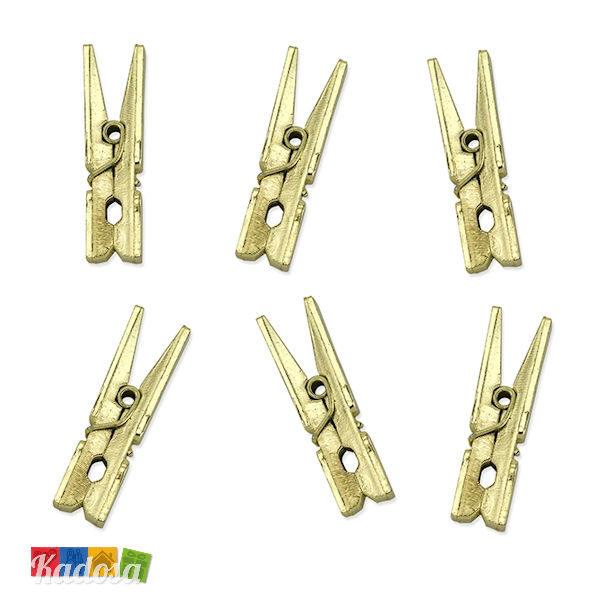 Mini Mollette Oro effetto Matal Chiudi Pacco in Legno Set 10 pz - Kadosa