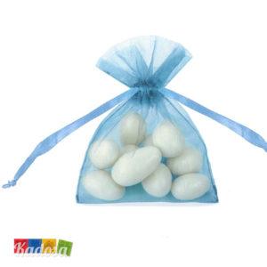 Sacchetti Organza AZZURRI celeste turchese bomboniera portaconfetti confetti confettata sacchettini automontanti - Kadosa