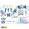 Festa in Scatola SET Pilota Aeroplano SET1 banner ghirlanda cannucce festa completa compleanno aereo nuvole azzurro bambino party cupcake topper palloncini - Kadosa