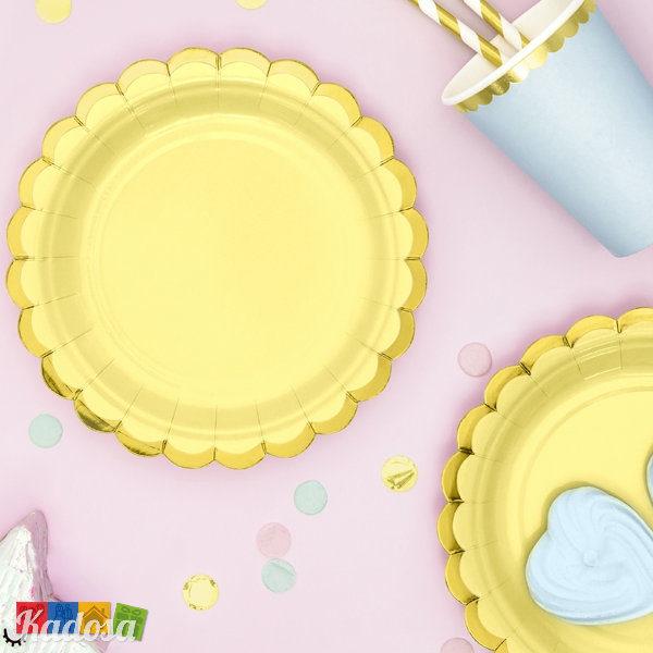 Piatti FLOWER PARTY Giallo Chiaro di carta bordo Oro fiore Flower Party fiori festa a tema compleanno adulti bambini multicolore pastello primavera allestimento - TPP16-084j - Kadosa