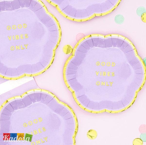 Mini Piatti Flower Party Lilla di carta Lilla Viola bordo Oro fiore - Good Vibes Only Flower Party fiori festa a tema compleanno adulti bambini multicolore pastello primavera - TPP41-004j - Kadosa