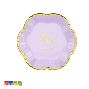 Mini Piatti Flower Party Lilla di carta Lilla Viola bordo Oro fiore - Good Vibes Only Flower Party fiori festa a tema compleanno adulti bambini multicolore pastello primavera - TPP41-004j - Kadosa