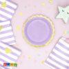 Piatti di carta Lilla viola bordo Oro fiore Flower Party fiori festa a tema compleanno adulti bambini multicolore pastello primavera allestimento - TPP16-004j - Kadosa