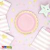 Piatti FLOWER PARTY Rosa di carta con bordo Oro fiore Flower Party fiori festa a tema compleanno adulti bambini multicolore pastello primavera allestimento Bordino 18 cm - TPP16-0081j - Kadosa