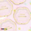 Mini Piatti FLOWER PARTY Rosa di carta con bordo Oro da Dolce fiore - Hello Gorgeous Flower Party fiori festa a tema compleanno adulti bambini multicolore pastello primavera allestimento 13 cm - TPP41-081j - Kadosa