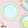 Piatti FLOWER PARTY Tiffany con Bordino Oro di Carta Bordo fiore Flower Party fiori festa a tema compleanno adulti bambini multicolore pastello primavera allestimento 18 cm - TPP16-103 - Kadosa