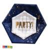 Bicchieri Piatti di Carta BLU Gold Party compleanno festa fashion buon anno new year capodanno eleganti elegant spazio astronauta bambini adulti KPP18 KPP17- Kadosa