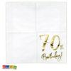 Tovaglioli di Auguri 70 Anni ORO di carta Bianchi scritta ORO 70 Birthday compleanno settanta anni festa party SP33-77-70-008 - Kadosa
