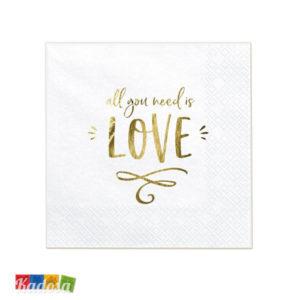 20 Tovaglioli All You Need is LOVE carta bianchi scritta Oo All you Need is Love Amore Matrimonio Fidanzamento Anniversario SP33-75-008-019 - Kadosa