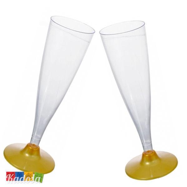 Calici Flute Base Oro Ideali per Aperitivi o Finger Food Set 4 pz - Kadosa
