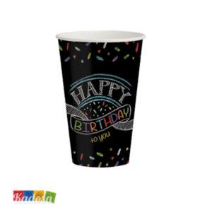 Maxi Bicchieri BLACK BIRTHDAY Effetto Lavagna 350 ml - Kadosa