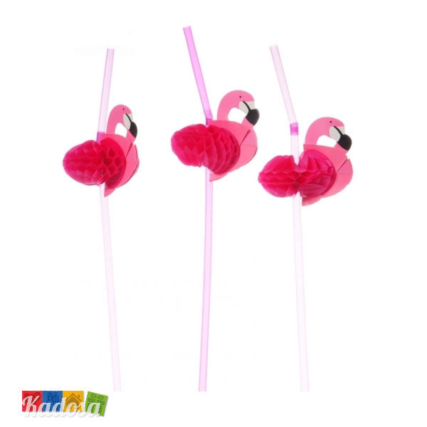 Cannucce Fenicottero Rosa 3d flamingo 12pz plastica carta festa compleanno coktail tema party pink bibita estate - Kadosa