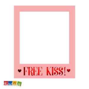 Cornice Photobooth Free Kiss Rosa Polaroid Bacio Romantico Amore Love San Valentino Matrimonio Wedding Selfie Selfiebooth PBF1 - Kadosa