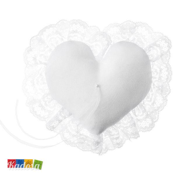 Cucino Porta Fedi Cuore Bordino Pizzo Bianco Matrimonio Wedding Sposi Portafedi Nuziale PKWM10-008 - Kadosa
