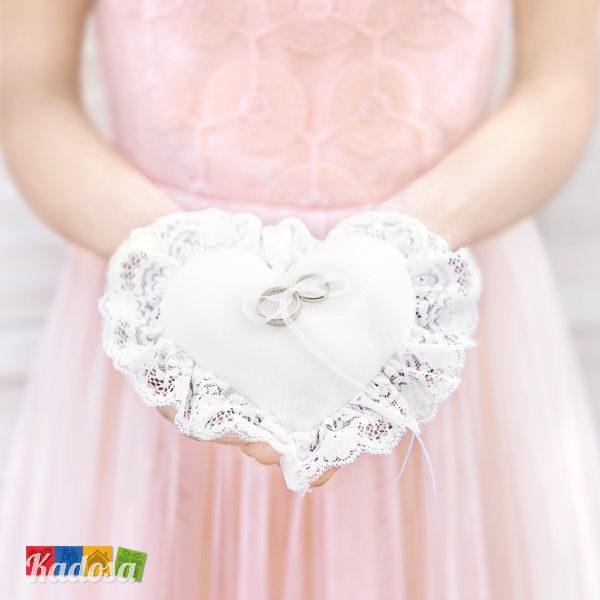 Cuscini Matrimonio Fedi.Cuscino Porta Fedi Cuore Bordino Pizzo Colore Bianco Kadosa