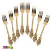 Forchette Plastica Oro Versailles Set 8 pz Posate Festa Compleanno Nozze Dorate Cesellate King Lusso Sfarzose 609643 - Kadosa