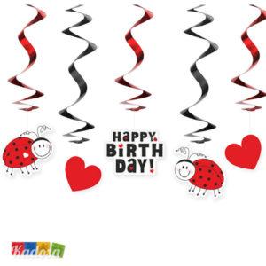 Ghirlande Coccinelle Happy Birthday Compleanno Festa Cuori Coccinella Love Fortuna Ghirlanda SWID26 - Kadosa