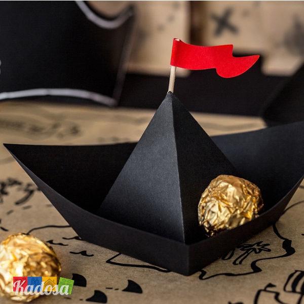 Barchette Pirati Porta Dolcetti e Biscotti Set 6 pz Origami Nera Prta Patatine Popcorn Caramelle Pirati Compleanno Party Galeone Barca di Carta Nera DP2 - Kadosa
