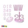 Set Candeline Rosa con Numeri da 0 a 9 per Compleanno Set 8 pz Numero Intercambiabili 0 1 2 3 4 5 6 7 8 9 0 Festa Buon Compleanno Birthday Candele Torta - Kadosa