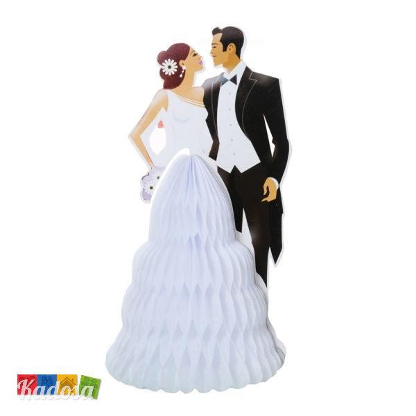 Topper Sposi Grande in Cartoncino Effetto 3D Torta Nuziale Statuine Matrimonio Gonna Soffietto - Kadosa