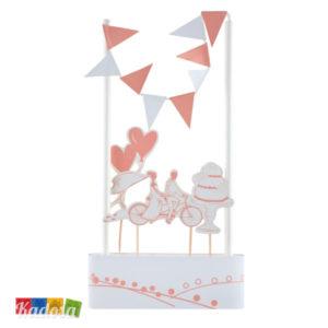 Cake Topper COUNTRY CHIC Bianco e Rosa Stile Provenzale - Kadosa