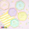 Tovaglioli FLOWER PARTY Gialli Righe con Scritta Always Be Positive Oro - Kadosa