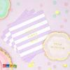 Tovaglioli FLOWER PARTY Lilla Righe con Scritta Good Vibes Only Oro - Kadosa