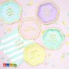 Tovaglioli FLOWER PARTY Azzurri Righe con Scritta Live Laugh Love Oro - Kadosa