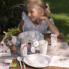 Set Country Chic - Tovaglioli Piatti Bicchieri Runner Guest Book Cake Topper Set Festa a Tema Chabby Bianchi e Rosa Matrimonio Wedding Provenzale Sposi Love Wedding Cake - Kadosa